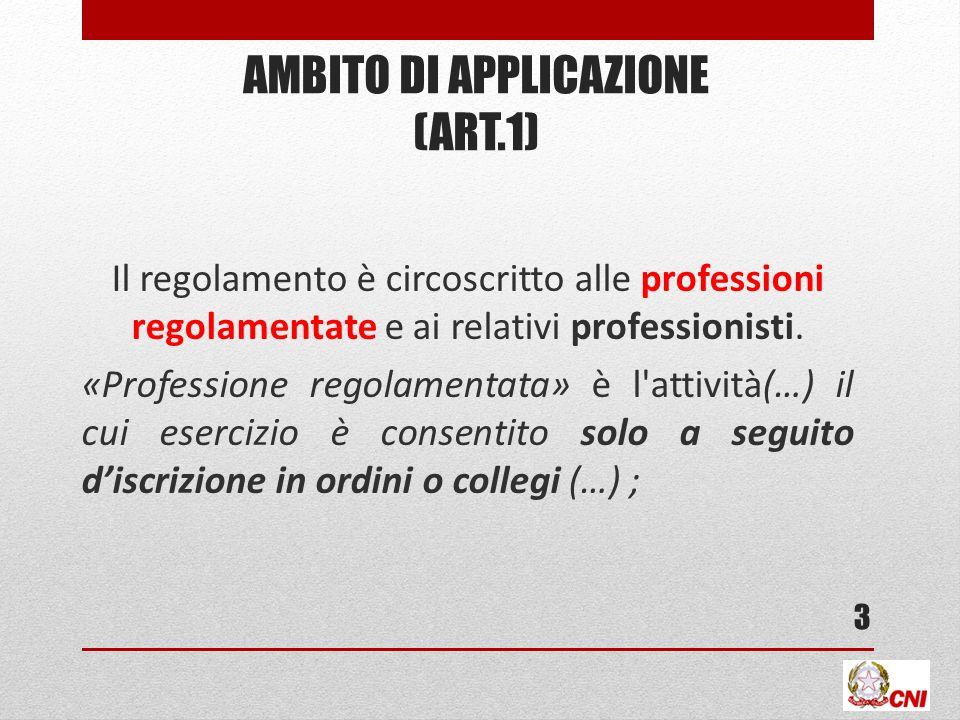 Ambito DI APPLICAZIONE (art.1)