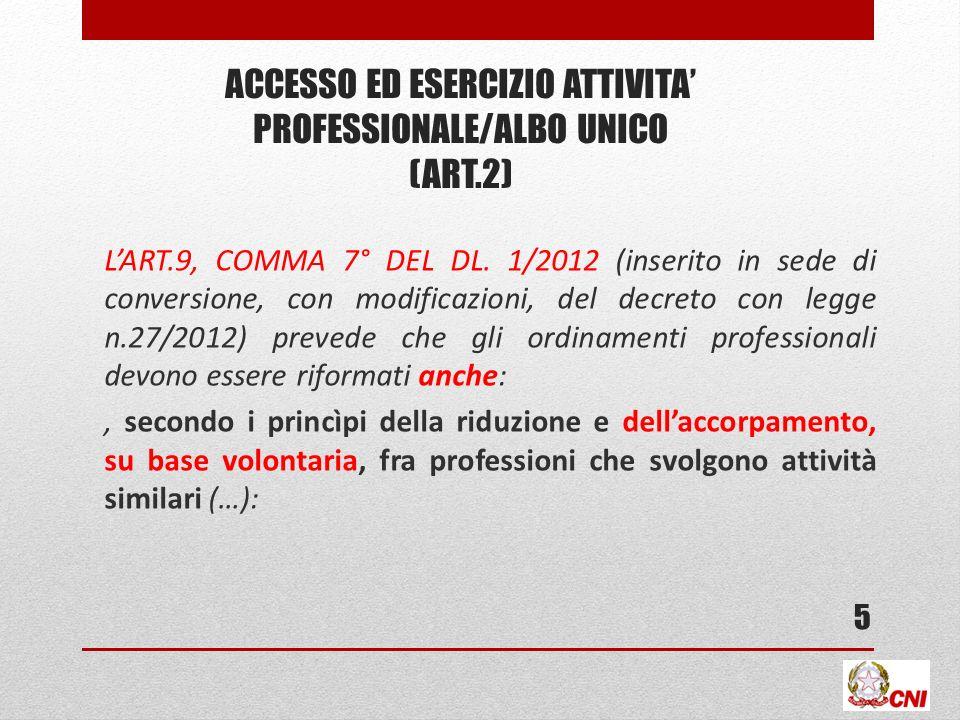 ACCESSO ED ESERCIZIO attivita' professionale/ALBO UNICO (ART.2)