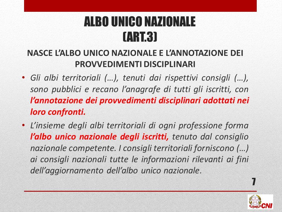 ALBO UNICO NAZIONALE (ART.3)