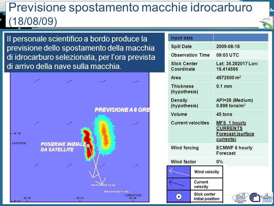 Previsione spostamento macchie idrocarburo (18/08/09)