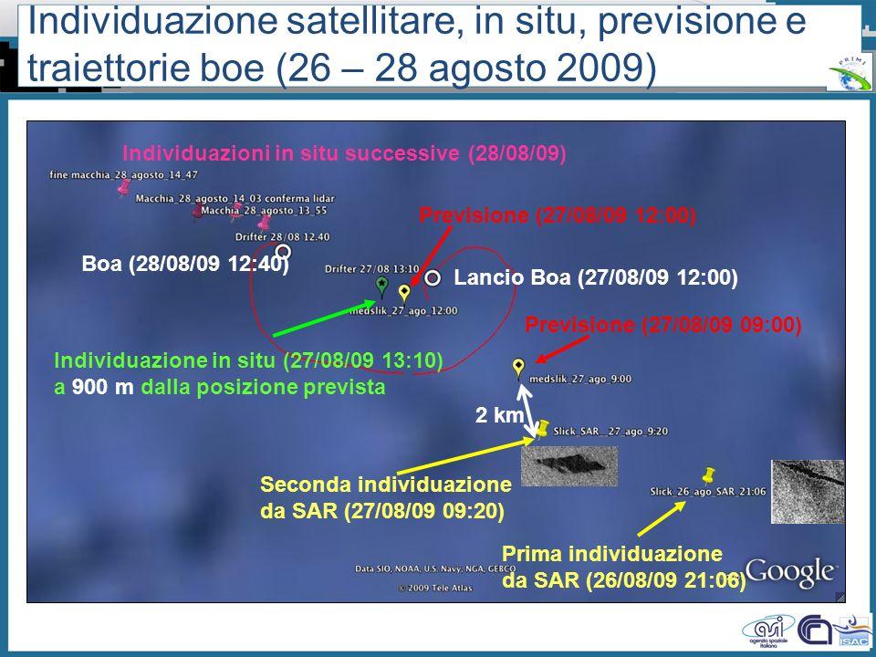 Individuazione satellitare, in situ, previsione e traiettorie boe (26 – 28 agosto 2009)