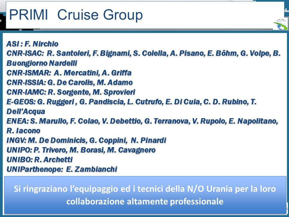 PRIMI Cruise Group ASI : F. Nirchio. CNR-ISAC: R. Santoleri, F. Bignami, S. Colella, A. Pisano, E. Böhm, G. Volpe, B. Buongiorno Nardelli.