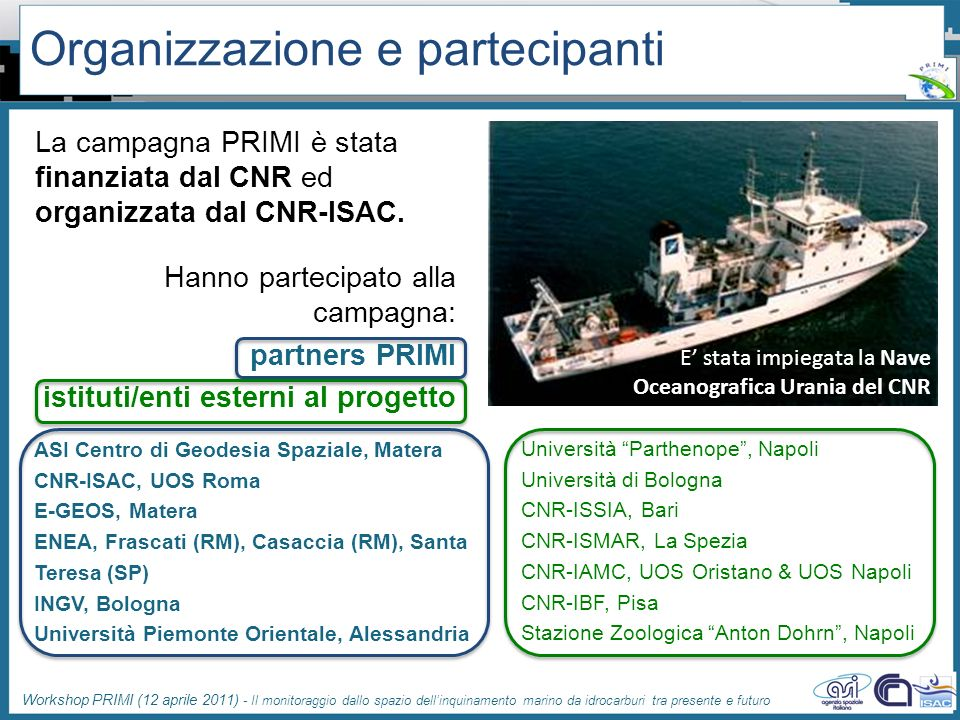 Organizzazione e partecipanti