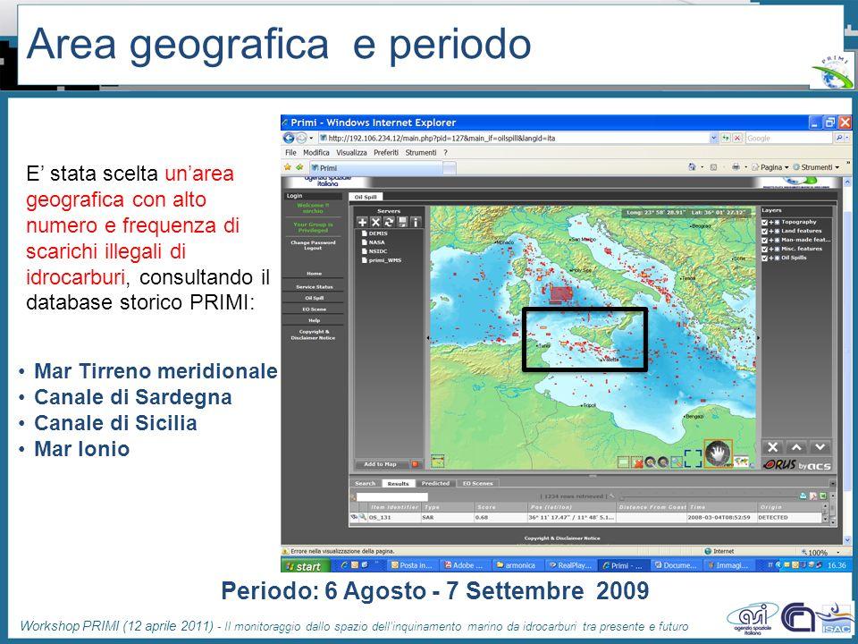 Area geografica e periodo
