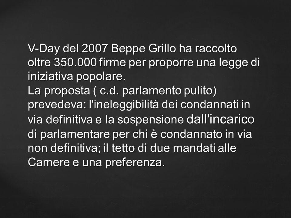 V-Day del 2007 Beppe Grillo ha raccolto oltre 350