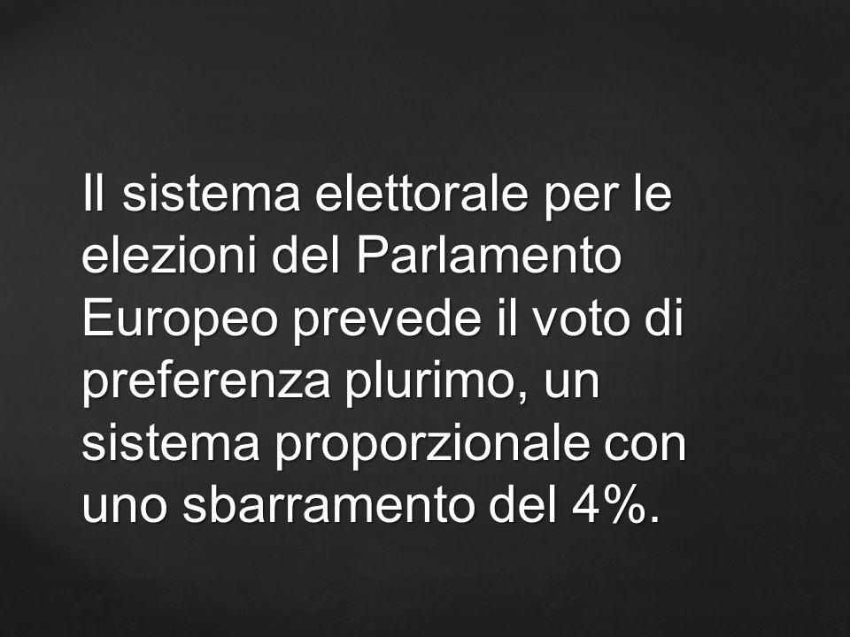 Il sistema elettorale per le elezioni del Parlamento Europeo prevede il voto di preferenza plurimo, un sistema proporzionale con uno sbarramento del 4%.