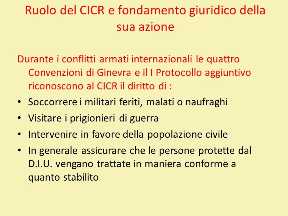 Ruolo del CICR e fondamento giuridico della sua azione
