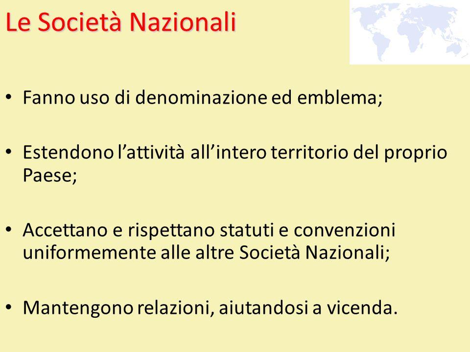 Le Società Nazionali Fanno uso di denominazione ed emblema;