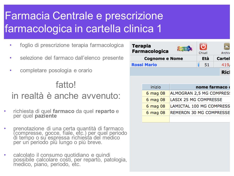 Farmacia Centrale e prescrizione farmacologica in cartella clinica 1