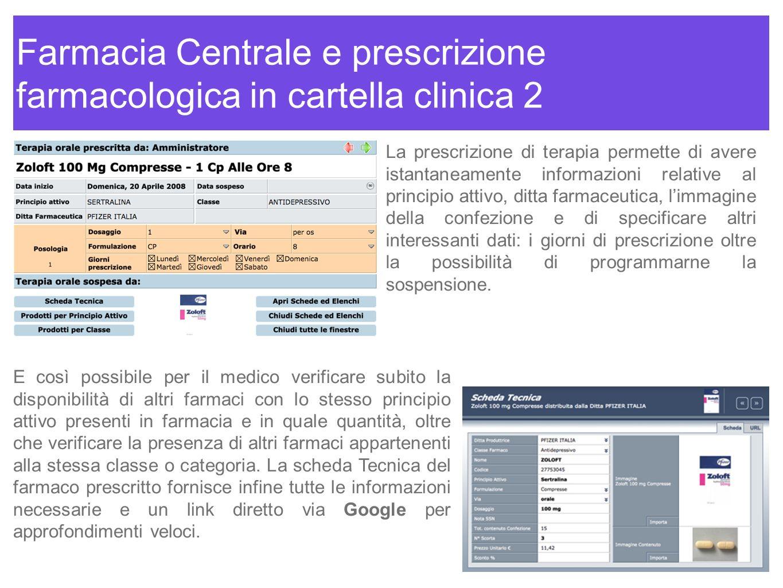 Farmacia Centrale e prescrizione farmacologica in cartella clinica 2