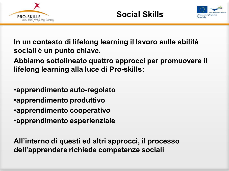 Social Skills In un contesto di lifelong learning il lavoro sulle abilità sociali è un punto chiave.