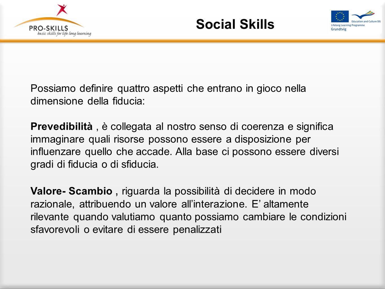 Social Skills Possiamo definire quattro aspetti che entrano in gioco nella dimensione della fiducia: