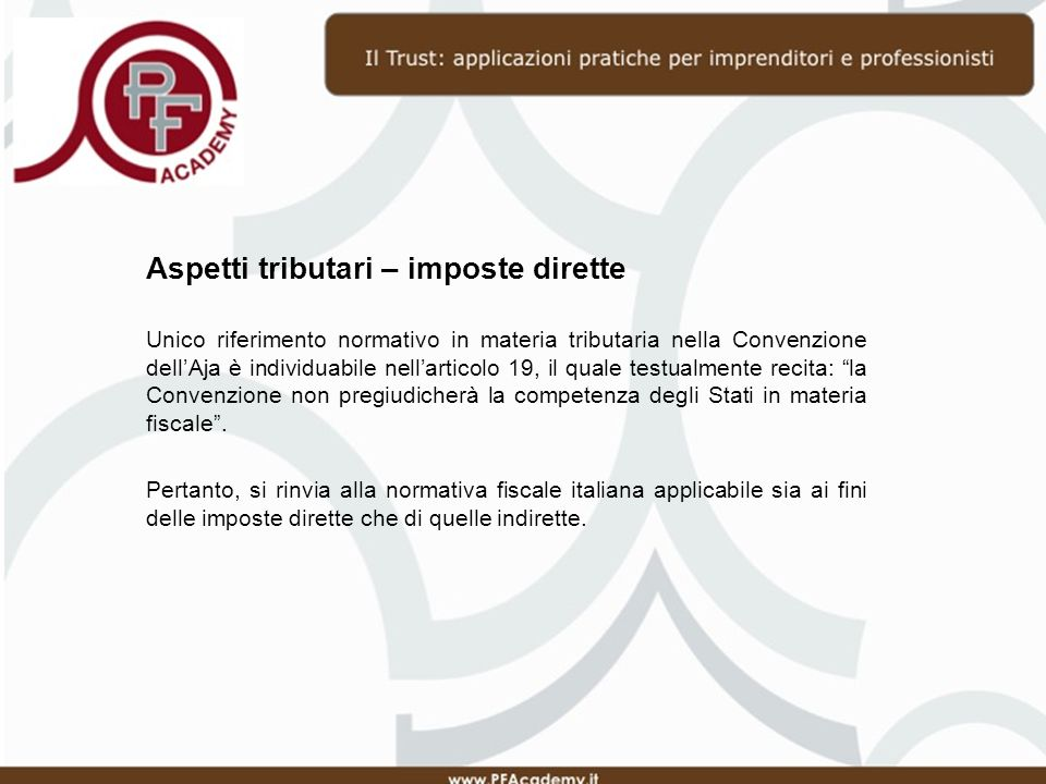 Aspetti tributari – imposte dirette