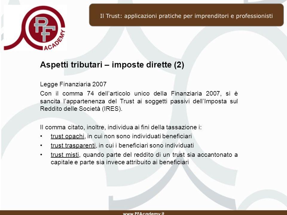 Aspetti tributari – imposte dirette (2)