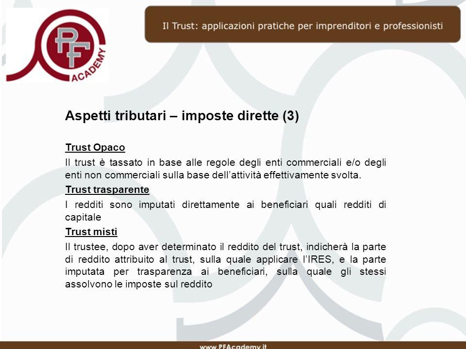 Aspetti tributari – imposte dirette (3)