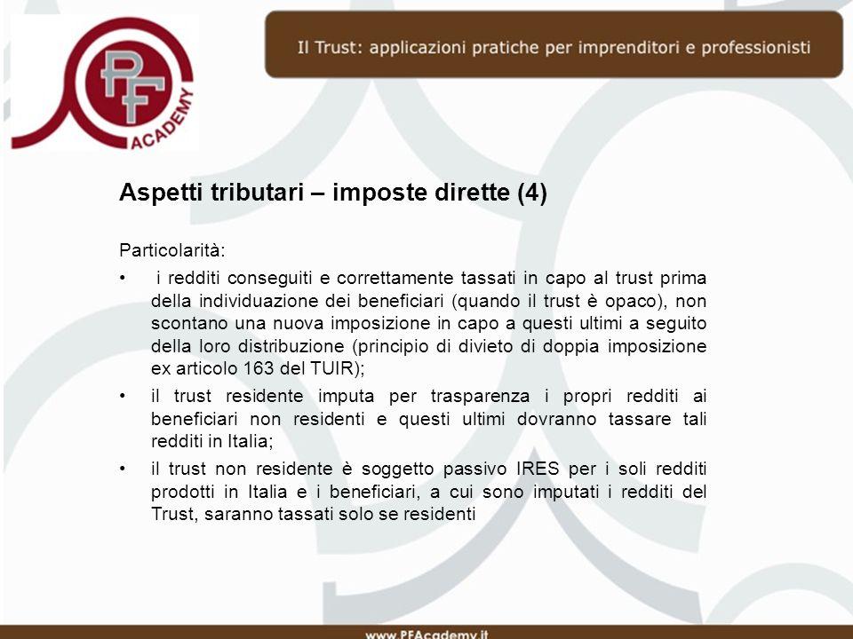 Aspetti tributari – imposte dirette (4)