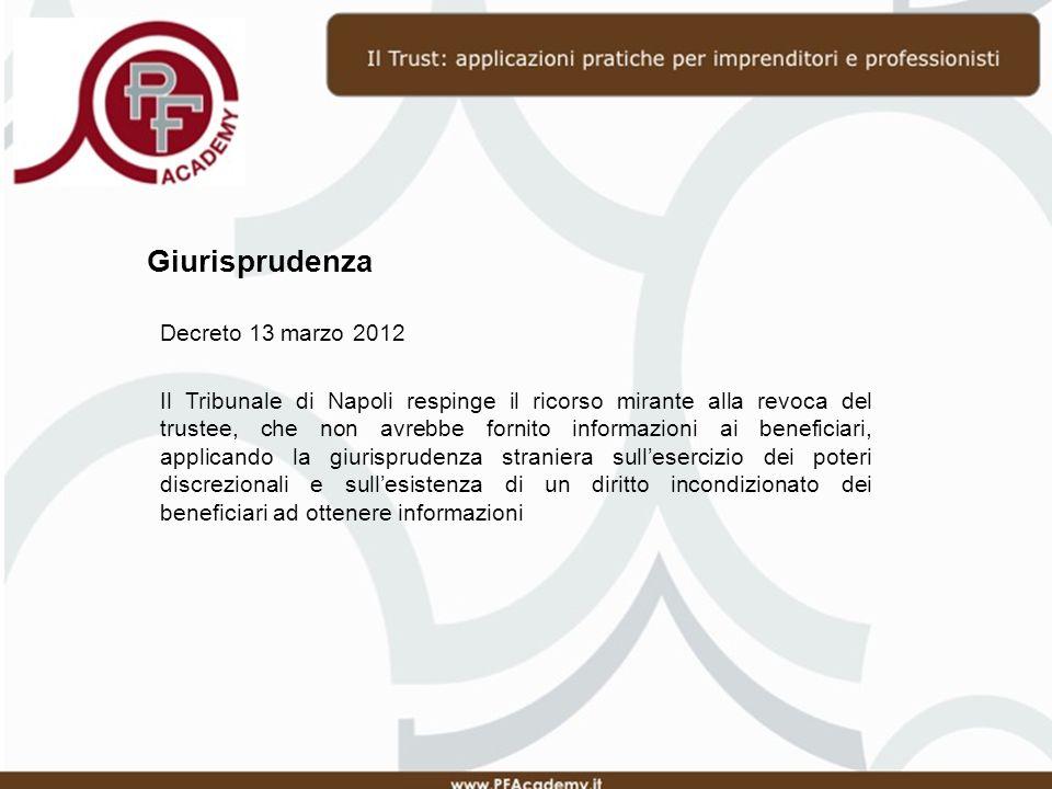 Giurisprudenza Decreto 13 marzo 2012