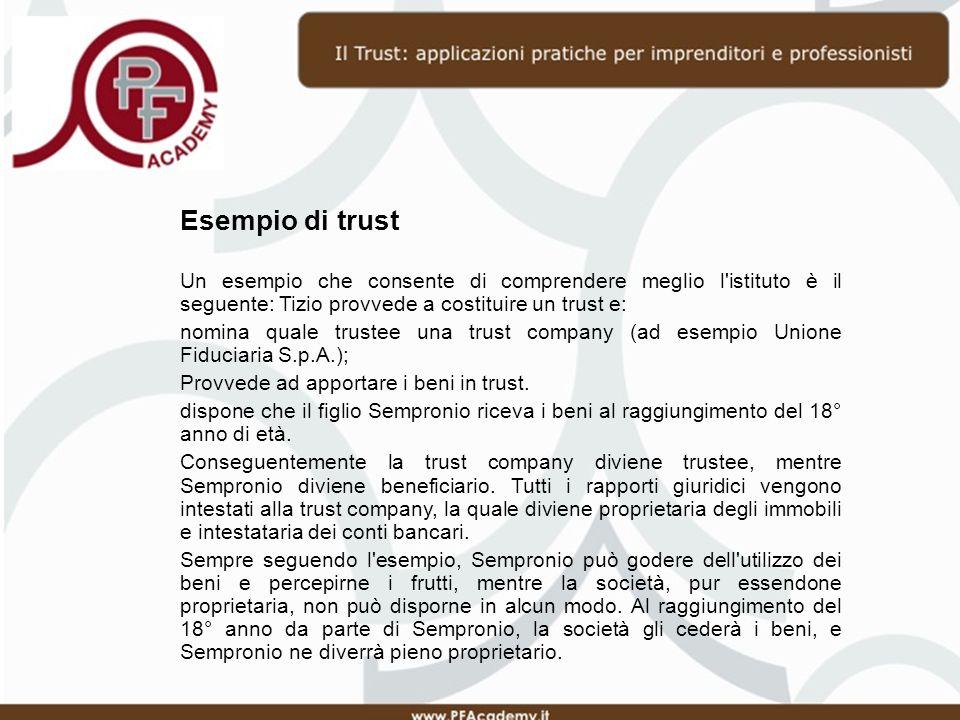 Esempio di trust Un esempio che consente di comprendere meglio l istituto è il seguente: Tizio provvede a costituire un trust e: