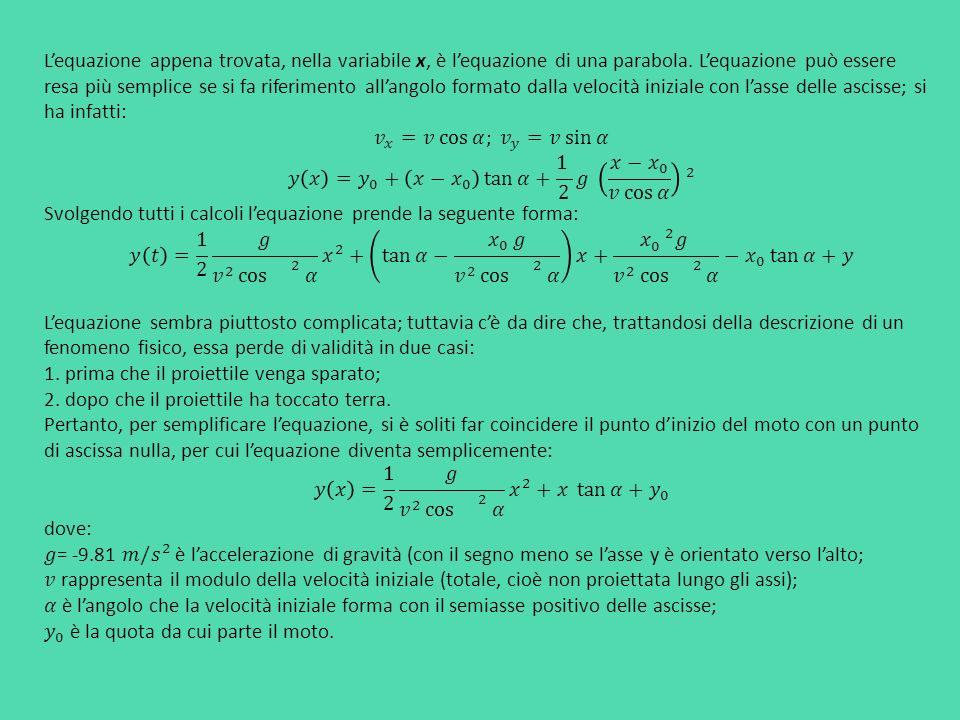 L'equazione appena trovata, nella variabile x, è l'equazione di una parabola. L'equazione può essere resa più semplice se si fa riferimento all'angolo formato dalla velocità iniziale con l'asse delle ascisse; si ha infatti: 𝑣 𝑥 =𝑣 cos 𝛼; 𝑣 𝑦 =𝑣 sin 𝛼