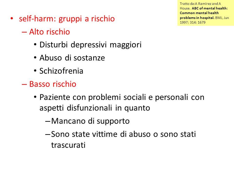 self-harm: gruppi a rischio Alto rischio Disturbi depressivi maggiori