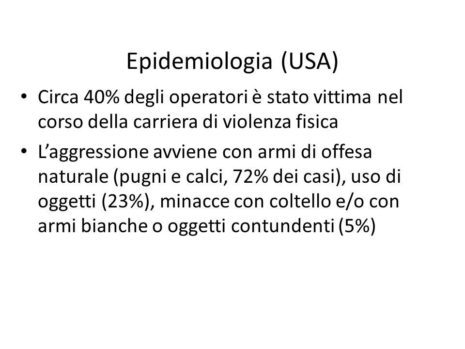 Epidemiologia (USA) Circa 40% degli operatori è stato vittima nel corso della carriera di violenza fisica.