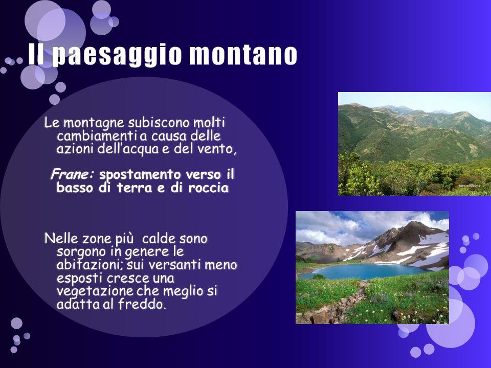Il paesaggio montano Le montagne subiscono molti cambiamenti a causa delle azioni dell'acqua e del vento,