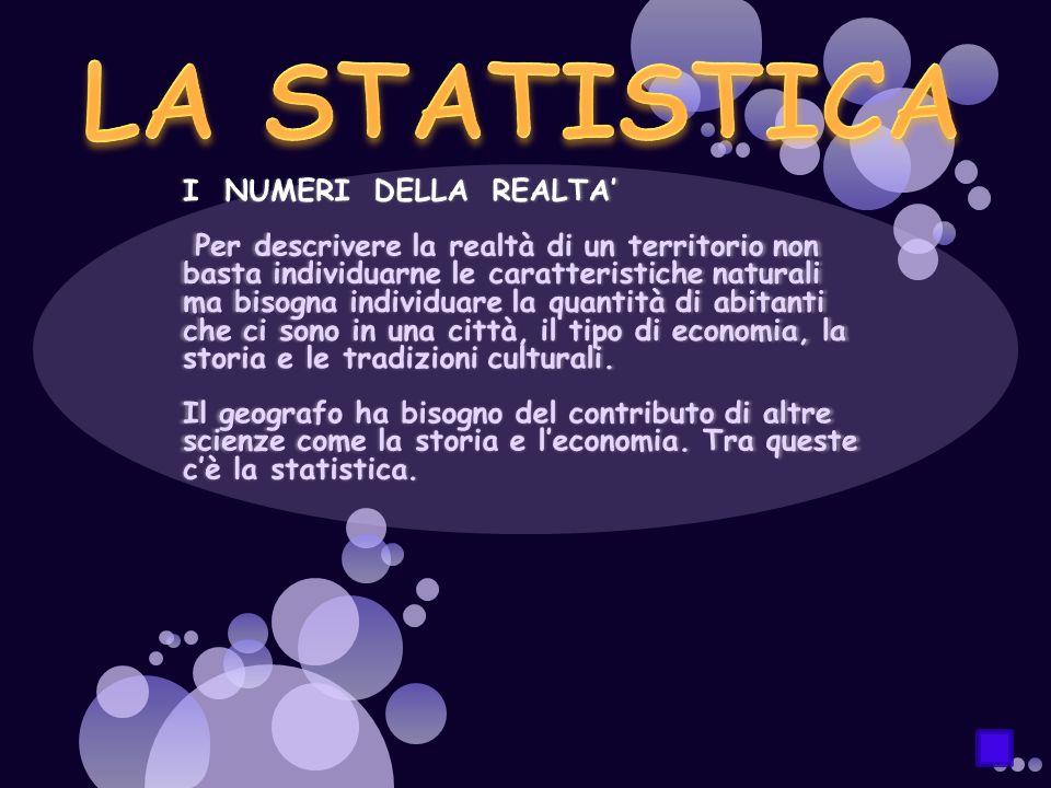LA STATISTICA I NUMERI DELLA REALTA'