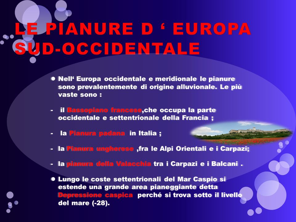 LE PIANURE D ' EUROPA SUD-OCCIDENTALE