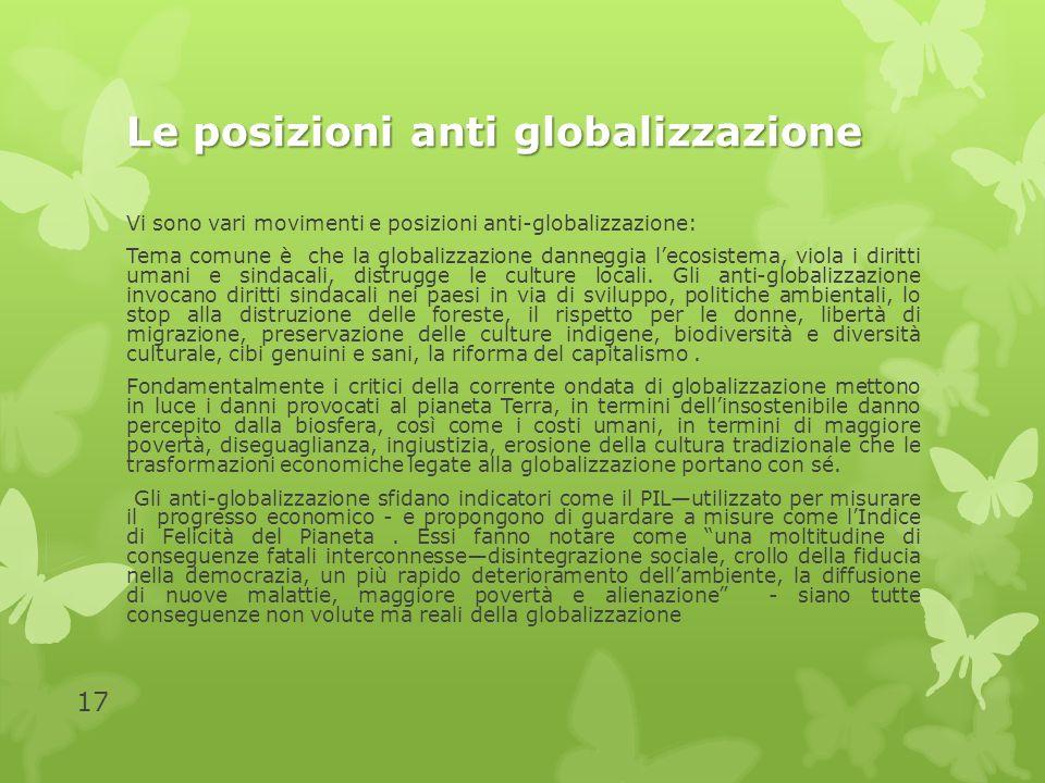 Le posizioni anti globalizzazione