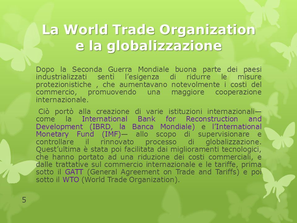 La World Trade Organization e la globalizzazione