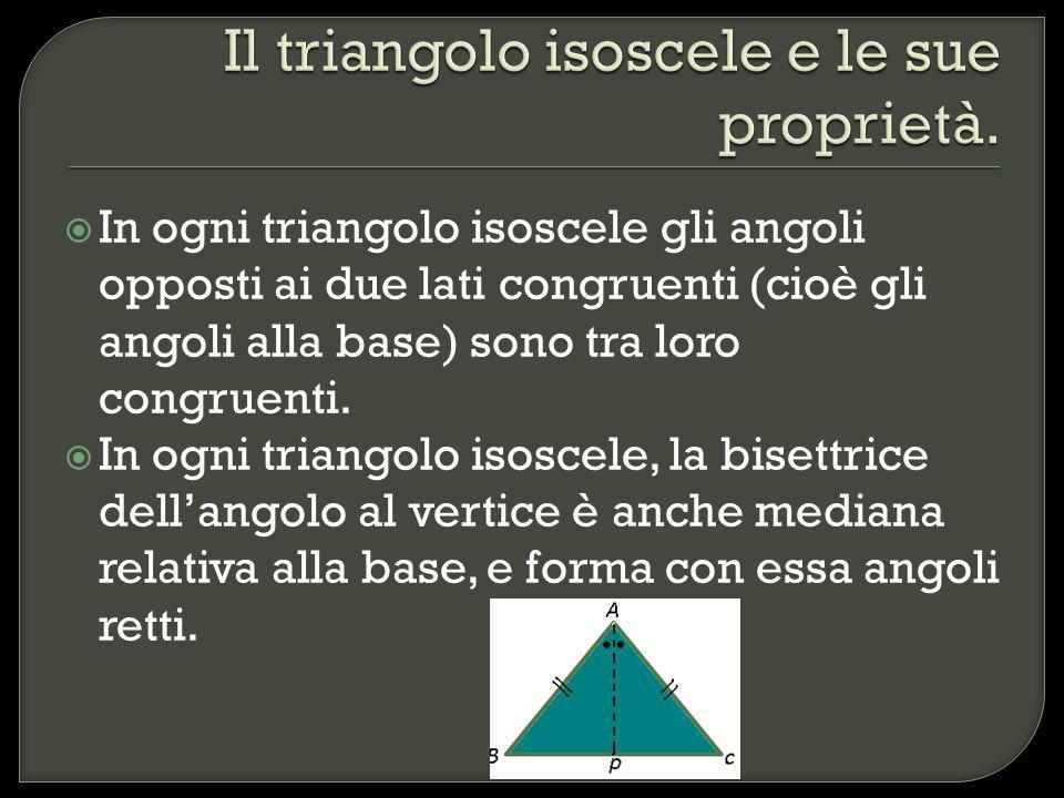 Il triangolo isoscele e le sue proprietà.