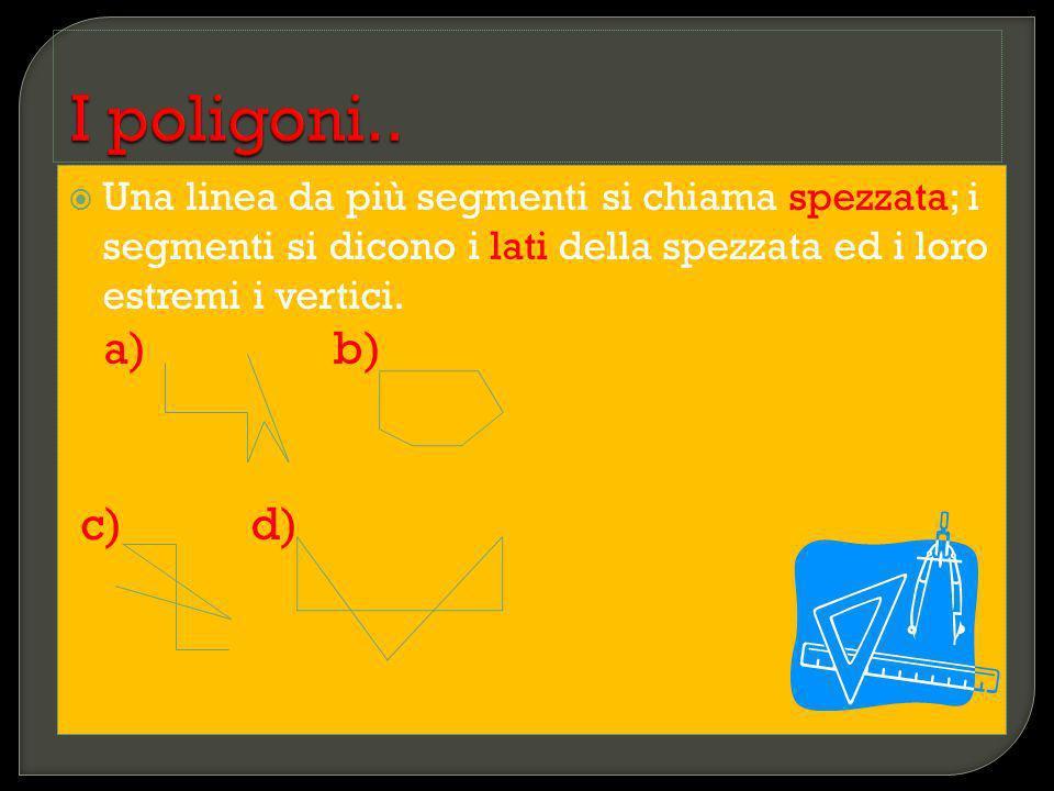 I poligoni.. Una linea da più segmenti si chiama spezzata; i segmenti si dicono i lati della spezzata ed i loro estremi i vertici.