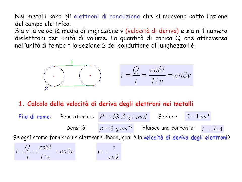 1. Calcolo della velocità di deriva degli elettroni nei metalli