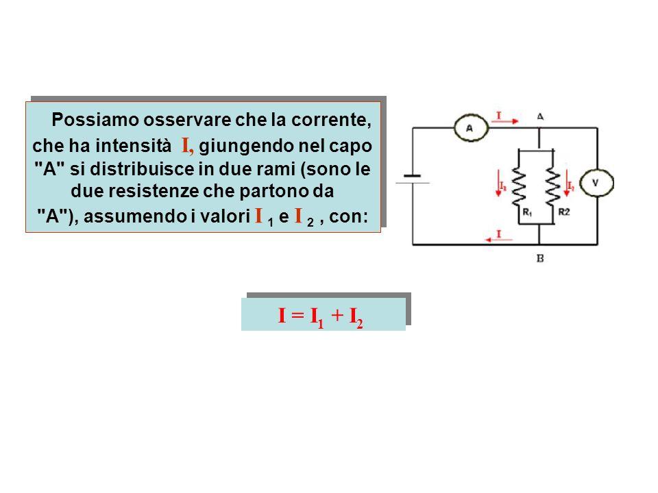 Possiamo osservare che la corrente, che ha intensità I, giungendo nel capo A si distribuisce in due rami (sono le due resistenze che partono da A ), assumendo i valori I 1 e I 2 , con: