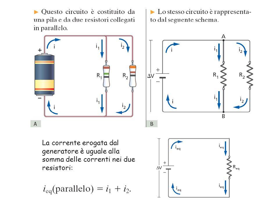 La corrente erogata dal generatore è uguale alla somma delle correnti nei due resistori: