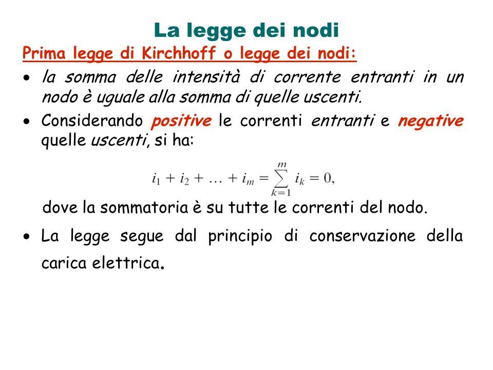 La legge dei nodi Prima legge di Kirchhoff o legge dei nodi: