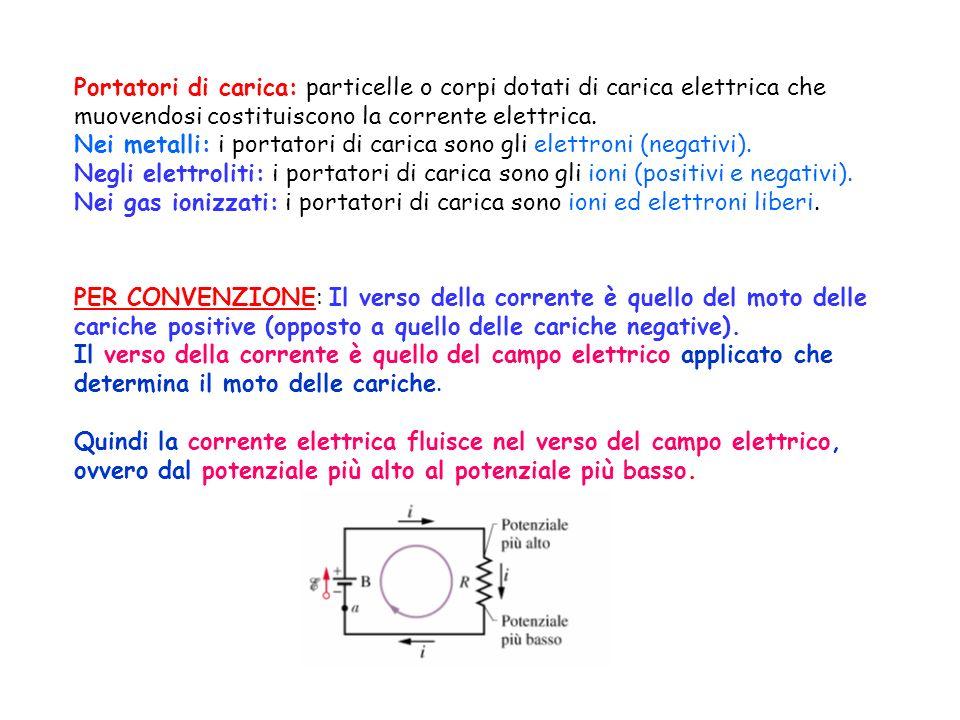 Portatori di carica: particelle o corpi dotati di carica elettrica che muovendosi costituiscono la corrente elettrica.