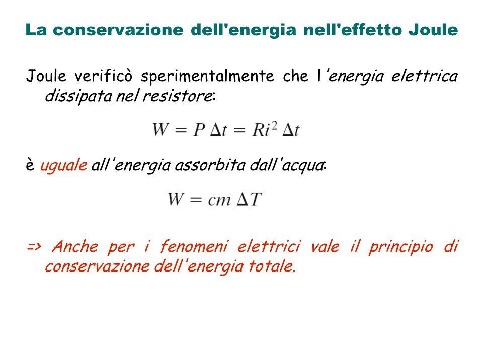 La conservazione dell energia nell effetto Joule