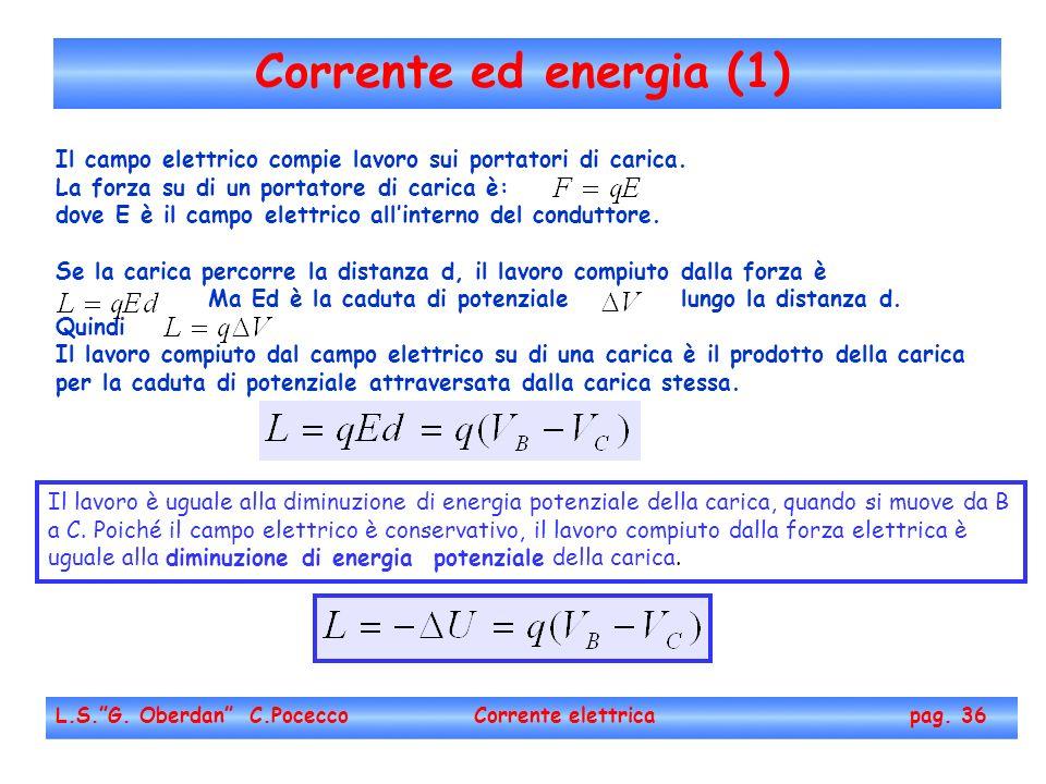 Corrente ed energia (1) Il campo elettrico compie lavoro sui portatori di carica. La forza su di un portatore di carica è: