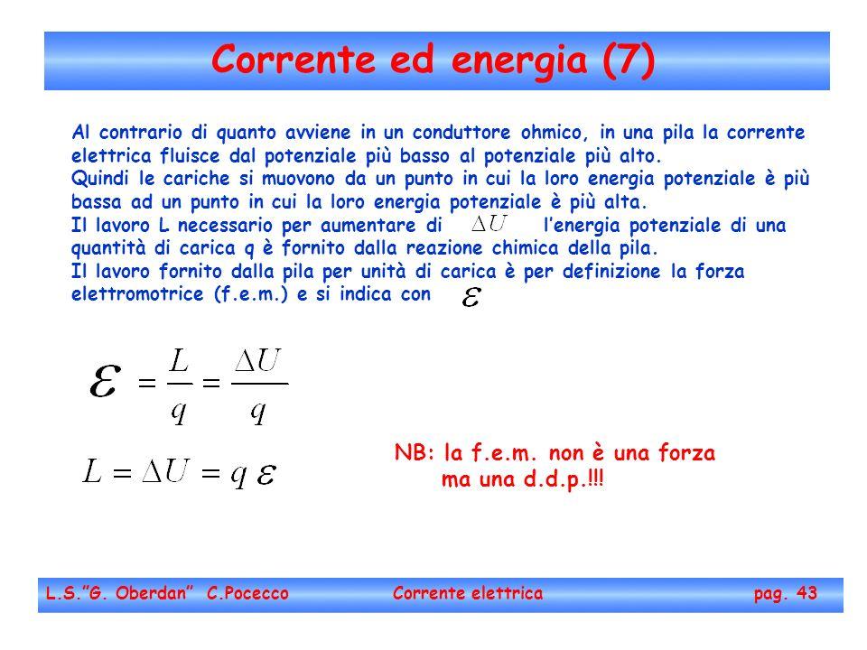 Corrente ed energia (7) NB: la f.e.m. non è una forza ma una d.d.p.!!!
