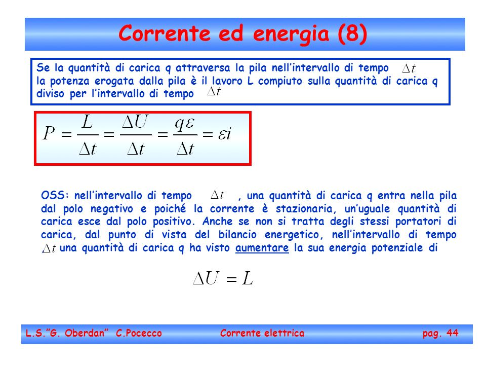 Corrente ed energia (8) Se la quantità di carica q attraversa la pila nell'intervallo di tempo.