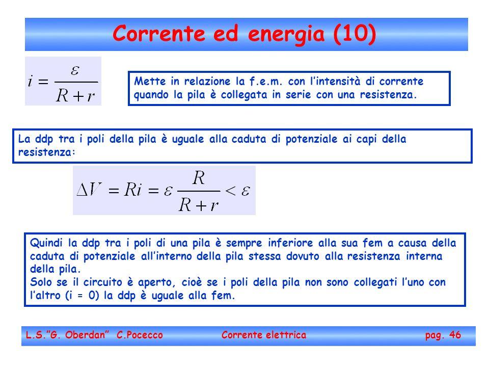 Corrente ed energia (10) Mette in relazione la f.e.m. con l'intensità di corrente quando la pila è collegata in serie con una resistenza.