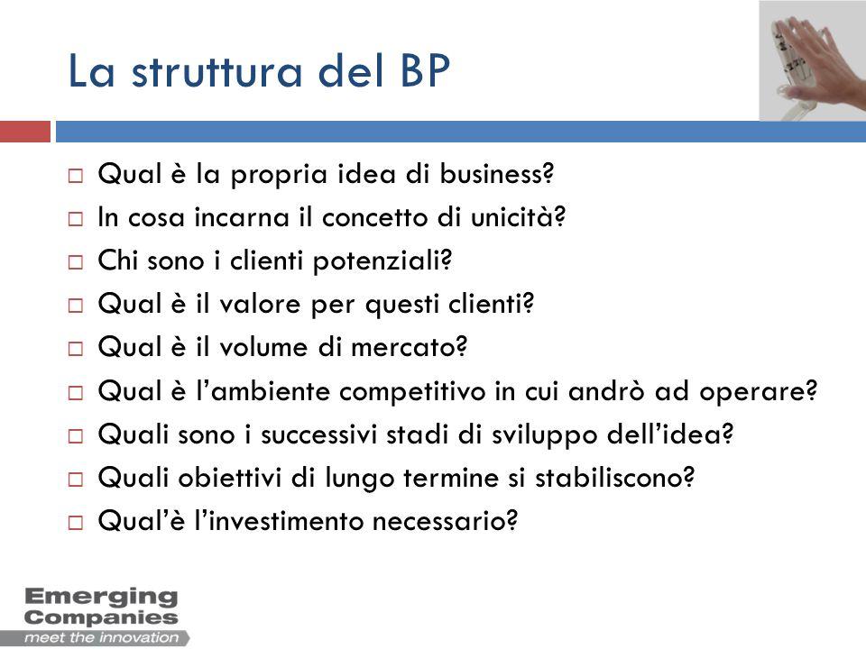 La struttura del BP Qual è la propria idea di business
