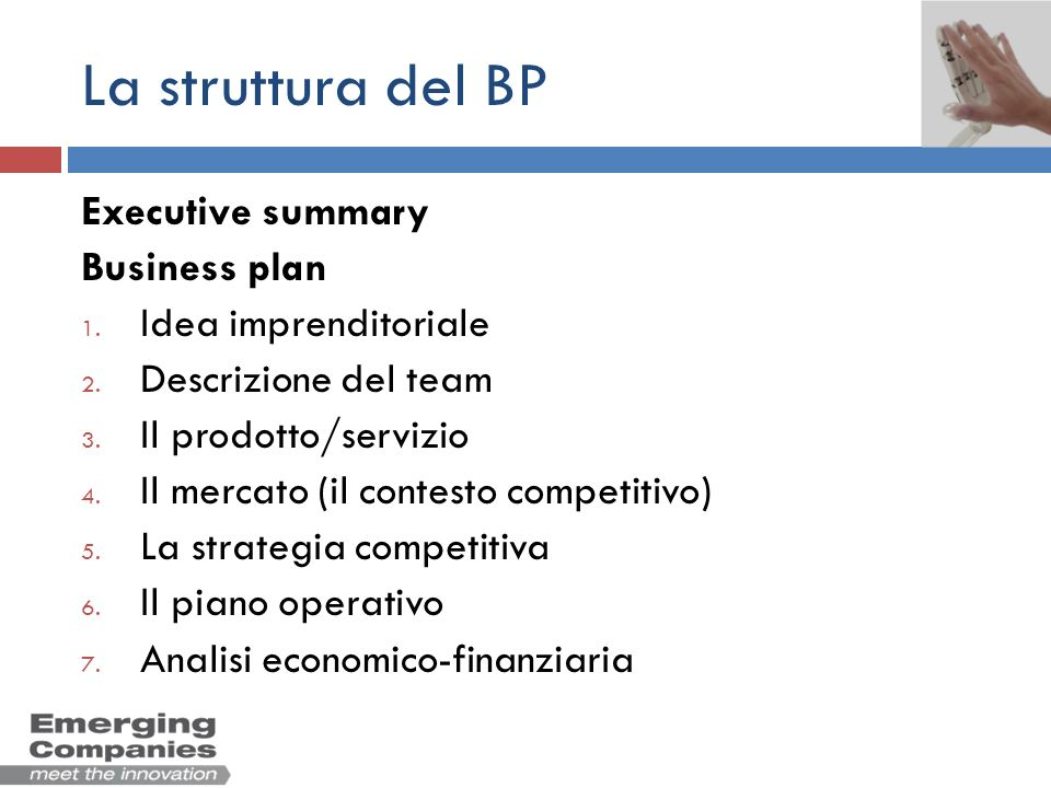 La struttura del BP Executive summary Business plan