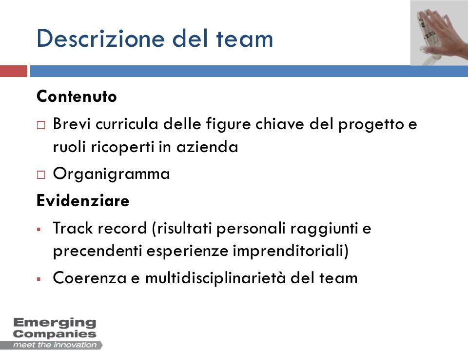Descrizione del team Contenuto
