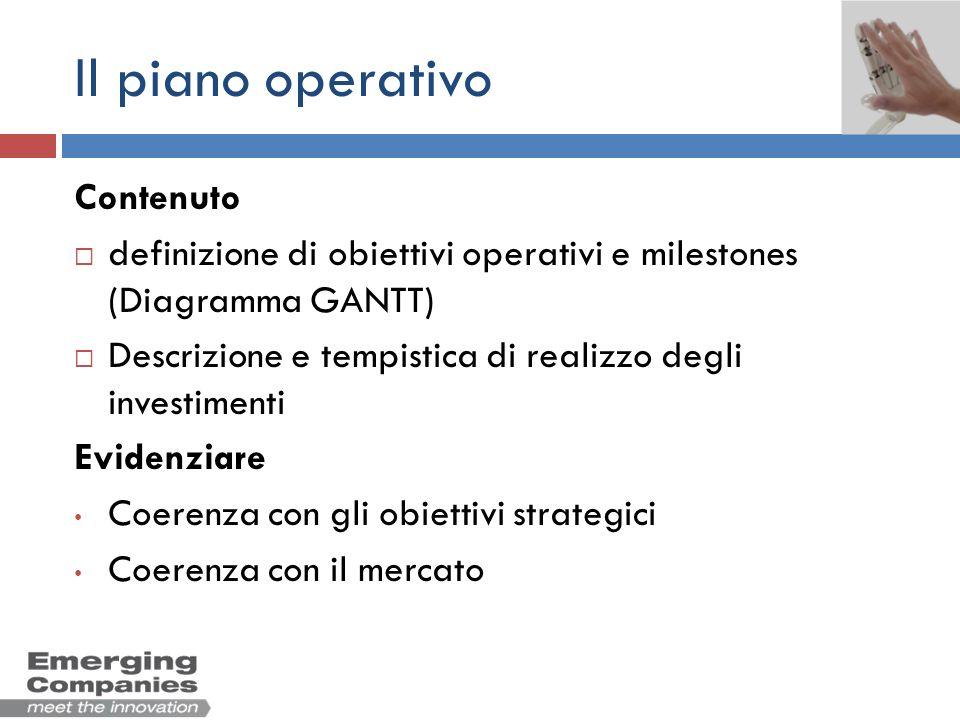 Il piano operativo Contenuto