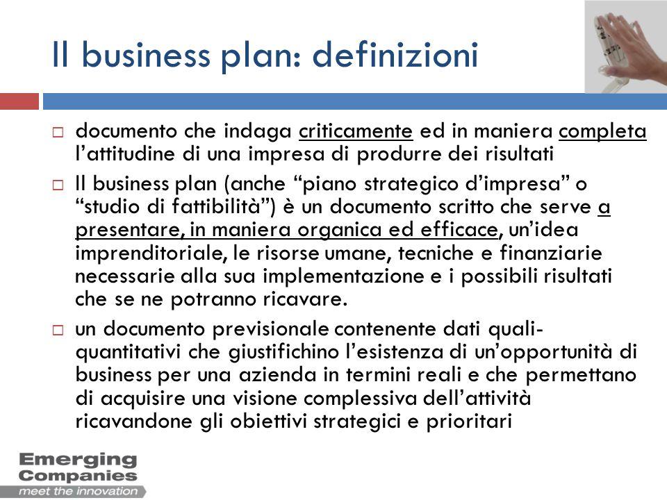 Il business plan: definizioni