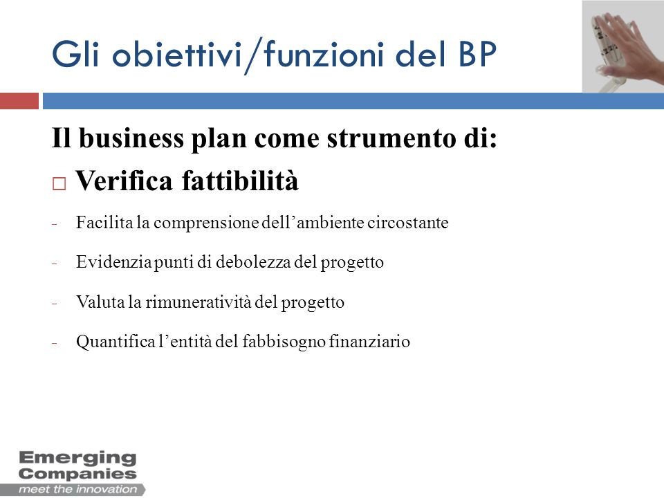 Gli obiettivi/funzioni del BP