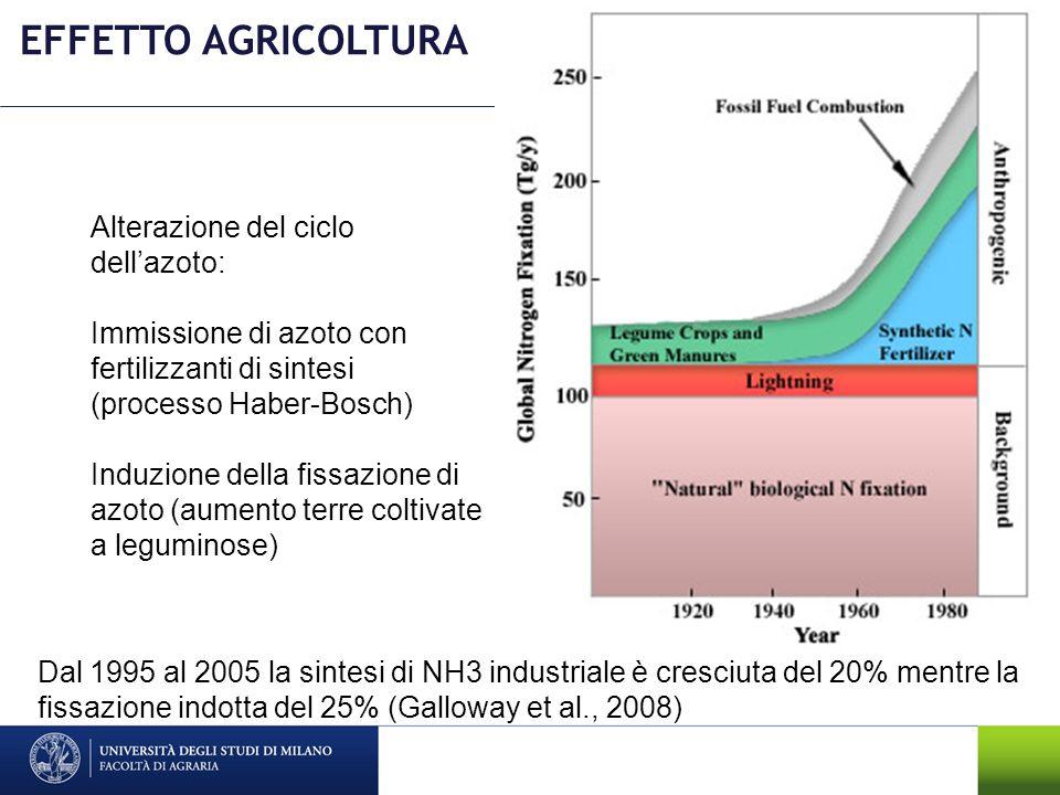 EFFETTO AGRICOLTURA Alterazione del ciclo dell'azoto: