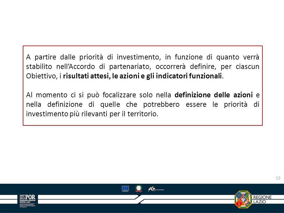 A partire dalle priorità di investimento, in funzione di quanto verrà stabilito nell'Accordo di partenariato, occorrerà definire, per ciascun Obiettivo, i risultati attesi, le azioni e gli indicatori funzionali.